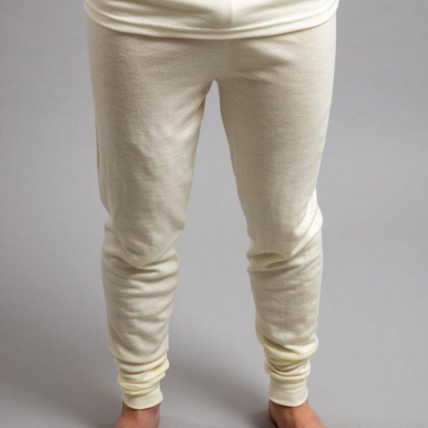 Front view of a male wearing white Merino Skins - Unisex Long John / Pant