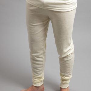 Front view of a male wearing white Merino Skins - Unisex Long John / Pant