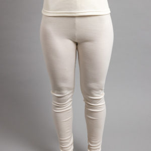 Front view of a female wearing white Merino Skins - Unisex Long John / Pant