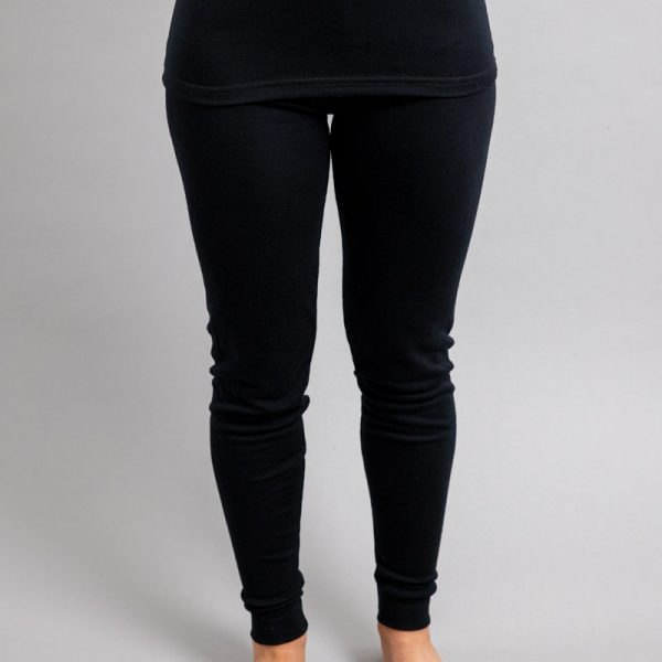 Front view of a female wearing black Merino Skins - Unisex Long John / Pant