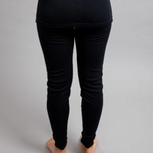 Rearview of a female wearing black Merino Skins - Unisex Long John / Pant