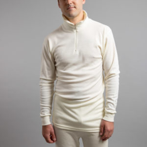 Front view of a male wearing white Merino Skins – Unisex Long Sleeve Half Zip Front