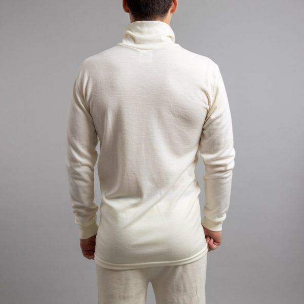 Rearview of a male wearing white Merino Skins – Unisex Long Sleeve Half Zip Front