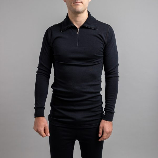 Front of a male wearing black Merino Skins – Unisex Long Sleeve Half Zip Front