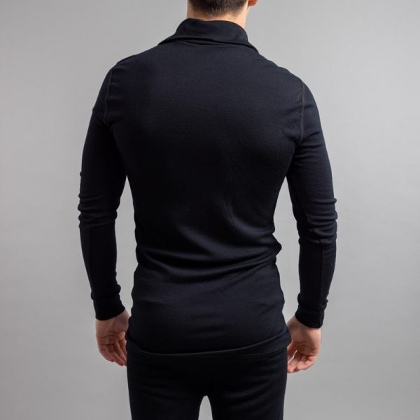 Rearview of a male wearing black Merino Skins – Unisex Long Sleeve Half Zip Front