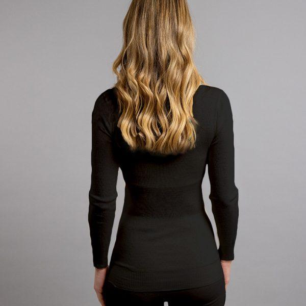 Rear view of black Thermo Fleece – Ladies Long Sleeve Satin Bound Neck – 100% Merino Wool