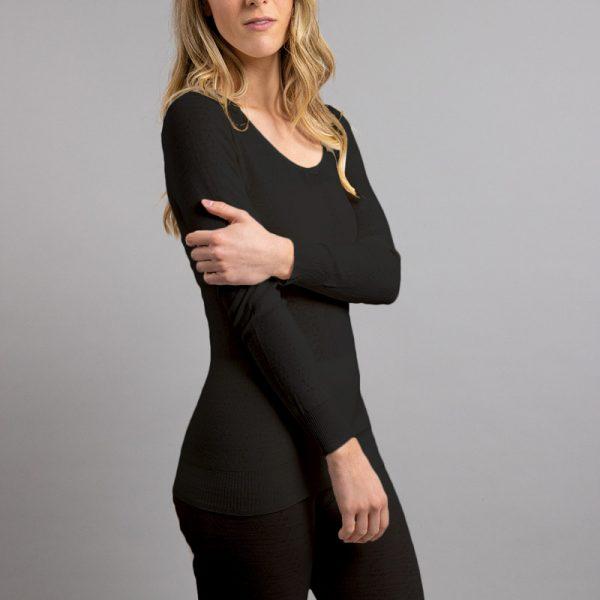 Side view of black Thermo Fleece – Ladies Long Sleeve Satin Bound Neck – 100% Merino Wool