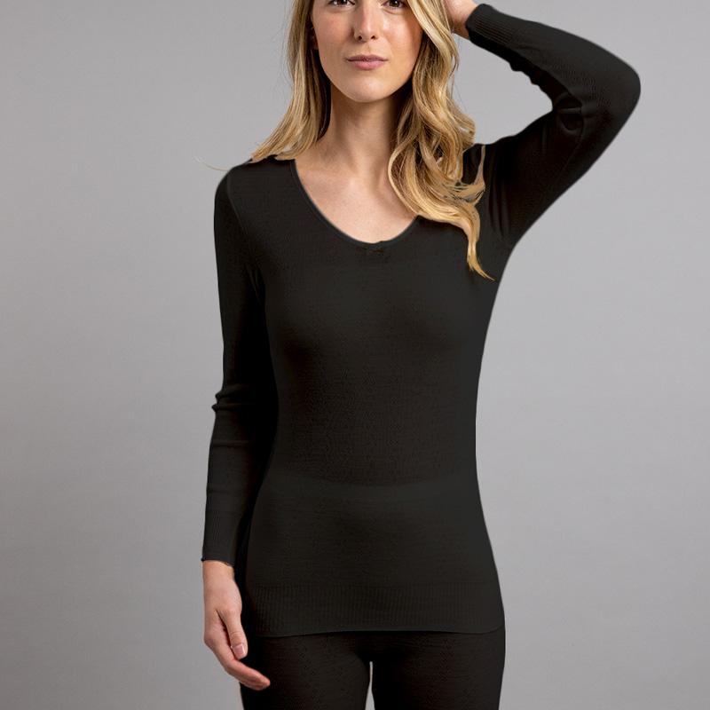 Front view of black Thermo Fleece – Ladies Long Sleeve Satin Bound Neck – 100% Merino Wool