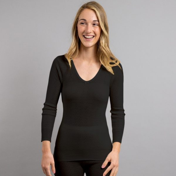 Front view of black Thermo Fleece – Ladies Long Sleeve Lace V Neck – 100% Merino Wool