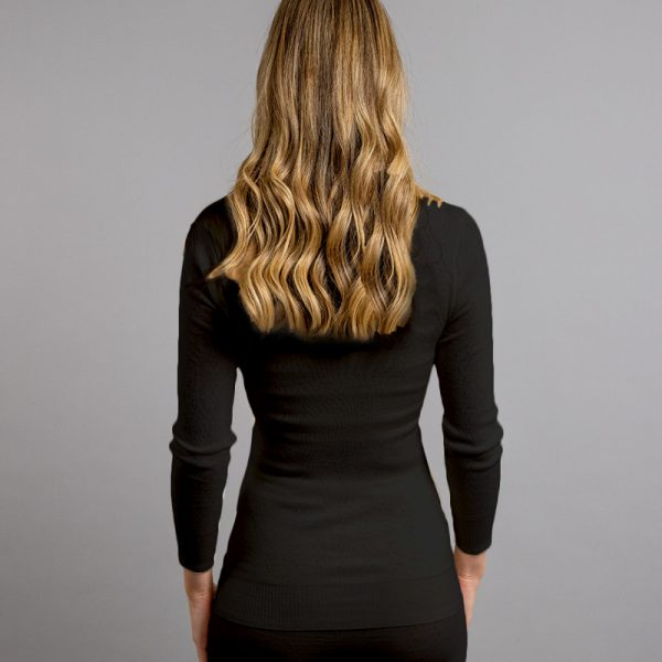 Back view of black Thermo Fleece – Ladies Long Sleeve Lace V Neck – 100% Merino Wool
