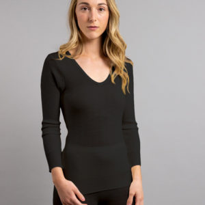 Side view of black Thermo Fleece – Ladies Long Sleeve Lace V Neck – 100% Merino Wool